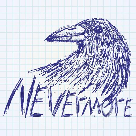 carrion: Crow raven handdrawn sketch text nevermore on paper notebook.