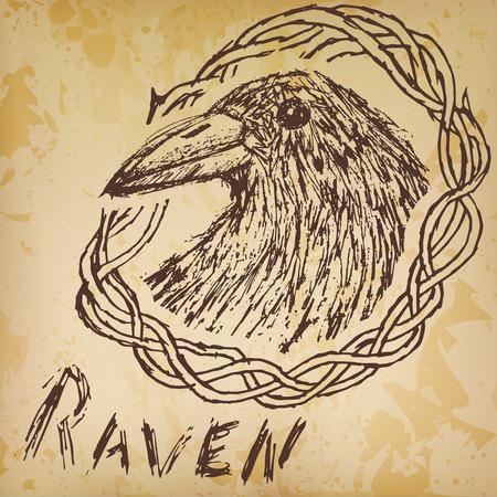Crow raven handdrawn sketch in blackthorn on old paper. Vector
