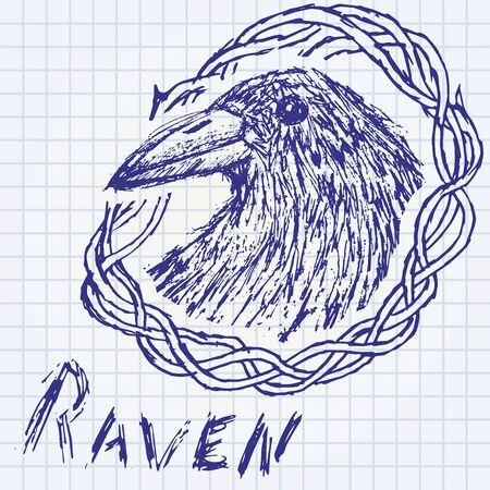 Crow raven handdrawn sketch in blackthorn on paper notebook.. Vector