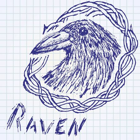 carrion: Crow raven handdrawn sketch in blackthorn on paper notebook..