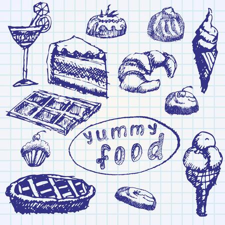 eclair: Food deserts set sketch handdrawn on notebook paper. Illustration