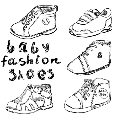 bootees: Baby fashion shoes set sketch handdrawn isolated on white background.