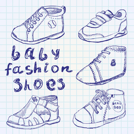 bootees: Baby fashion shoes set sketch handdrawn on notebook paper.