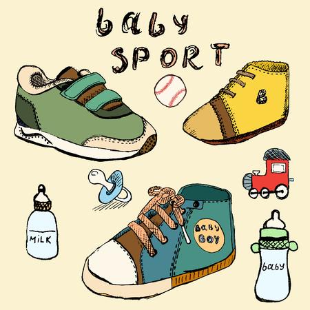 Baby shoes set sketch handdrawn in color. Vector