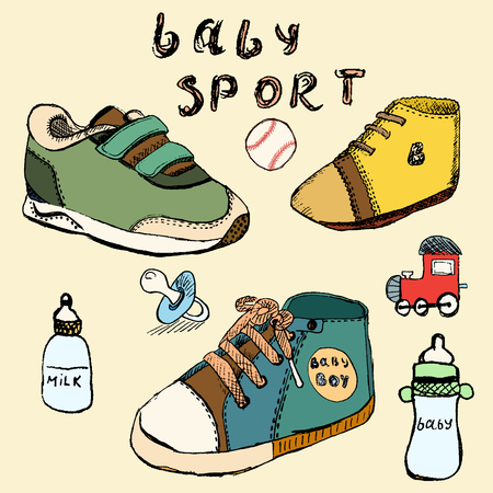 baby shoes: Baby shoes set sketch handdrawn in color. Illustration