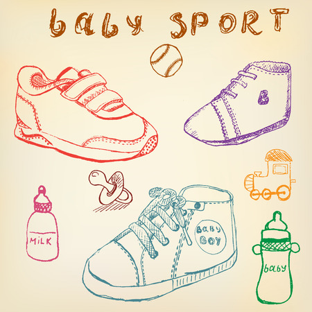 Baby shoes set sketch handdrawn color crayons outlined. Vector