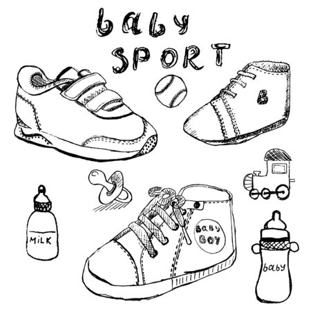 Baby shoes set sketch handdrawn isolated on white. Vector