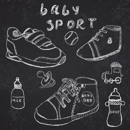 Baby shoes set sketch handdrawn on blackboard. Vector