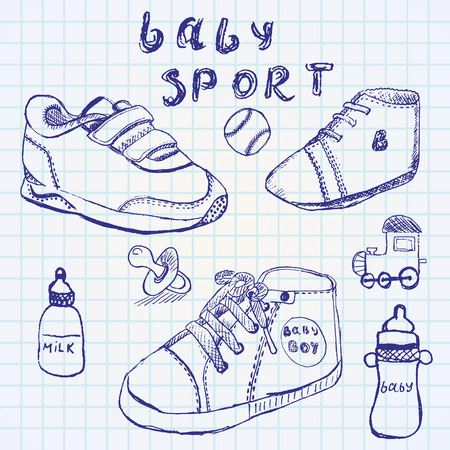Baby shoes set sketch handdrawn on notebook paper. Vector