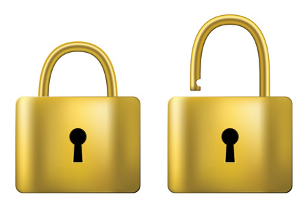 padlock: Locked and unlocked Padlock gold isolated on white background.