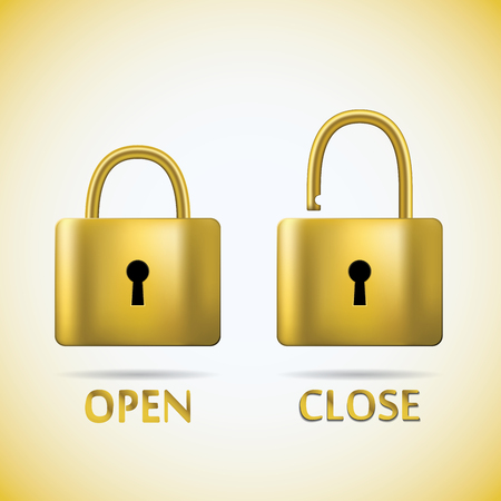 unbreakable: Locked and unlocked Padlock gold text open close. Illustration