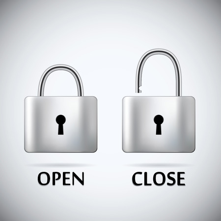 unbreakable: Locked and unlocked Padlock steel text open close. Illustration