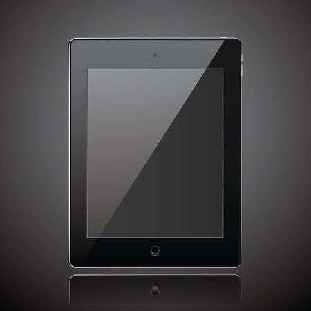 New realistic tablet modern style dark background with raflection. Vector