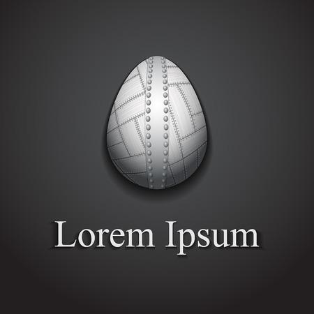 Stylish creative metal easter egg logo sample text. Vector