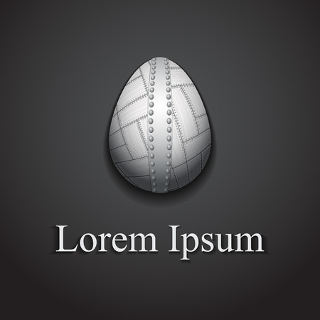 plated: Stylish creative metal easter egg logo sample text.