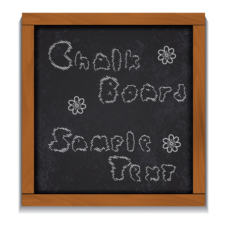 wood frame: Chalkboard wood frame sample text isolated on white background. Illustration
