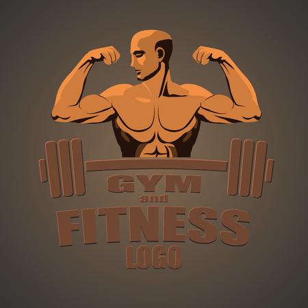 biceps: Fitness gym logo mockup bodybuilder showing biceps.