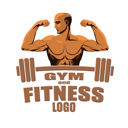 Fitness gym logo mockup bodybuilder showing biceps isolated on white background. Vector