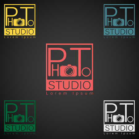 media gadget: Photo studio logo mock up dark sample text.