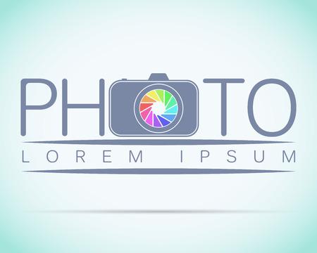 Photo studio logo mock up Light sample text. Ilustração