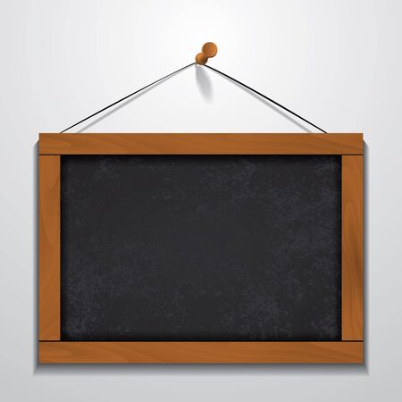 inscribe: Chalkboard wood frame hanging on wall. Illustration
