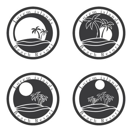 palmier: Les palmiers et le soleil, la plage mod�le de conception de la station. �le tropicale ou de vacances, ic�ne, ensemble.