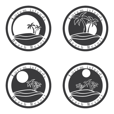 beach palm: Palm trees and sun, beach resort  design template. tropical island or vacation icon set.