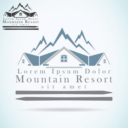 logo rock: Mountain Resort vecteur mod�le de conception de logo. ic�ne toit. la construction de Realty symbole d'architecture.