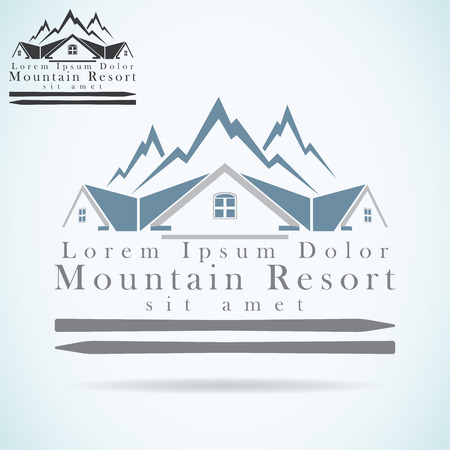 hotel sign: Mountain resort vector logo design template. rooftop icon. Realty construction architecture symbol. Illustration