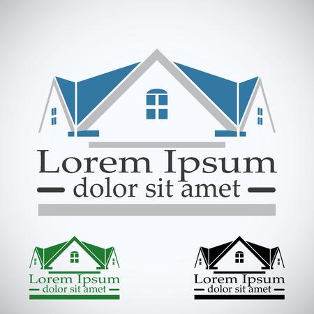logements: Immobilier logo vectoriel mod�le de conception jeu de couleurs. le toit concept abstrait ic�ne. la construction de Realty symbole d'architecture. Illustration