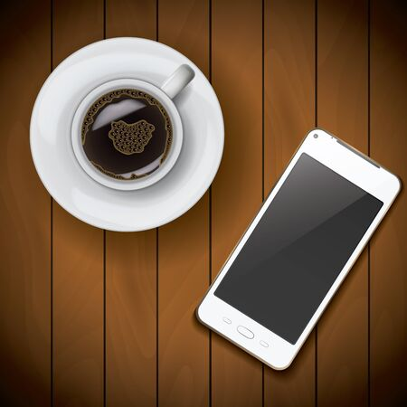 varnished: New realistic mobile phone smartphone mockup template with coffee cup on wood background. Illustration