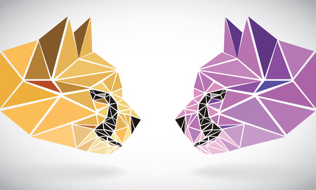polygonal abstract geometric triangle cheetah. low poly color heads. Vector