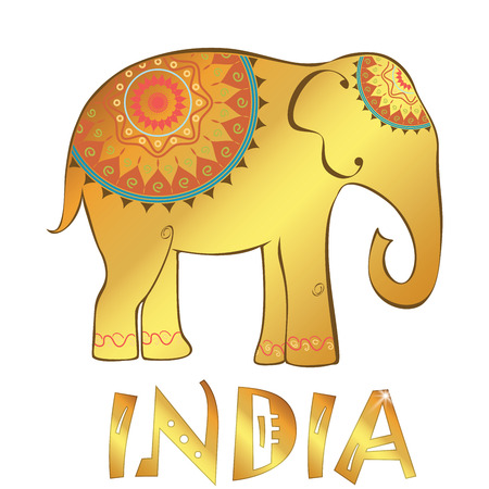 Vector vintage Indian elephant illustration isolated on white. Vector