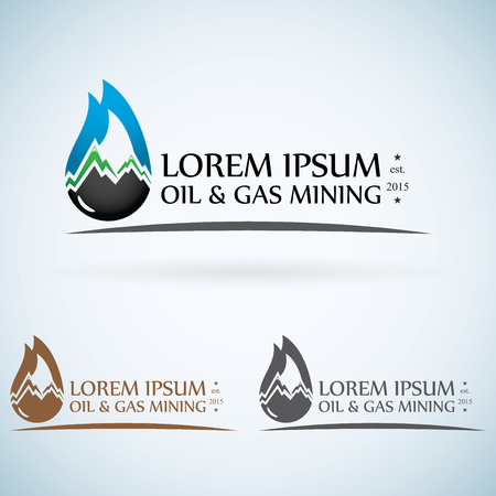 OIl gas company vector logo design template color set. fire oil drop with mountains abstractsymbol concept icon. Vector