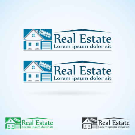 Real Estate vector logo design template color set. House abstract concept icon. Realty construction architecture symbol.