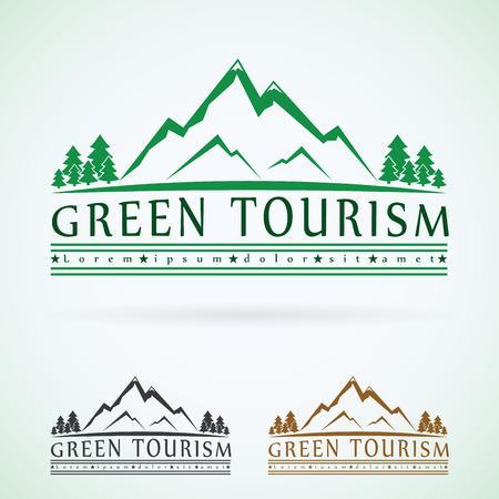 logotipo turismo: Montañas de la plantilla de diseño de logotipo vector vendimia, icono del turismo verde.