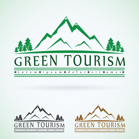 Mountains vintage vector logo design template, green tourism icon. Ilustração