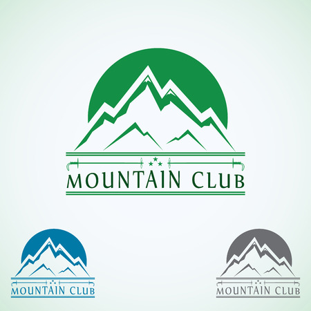 Mountains vintage vector logo design template, green tourism icon. Ilustrace