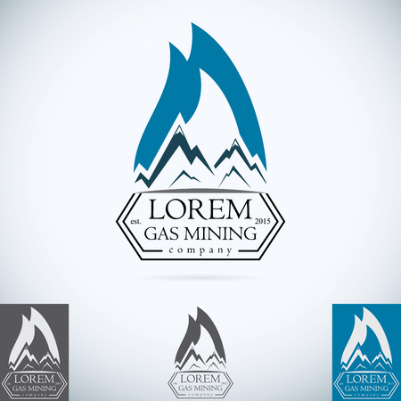 liquefied: OIl gas company vector logo design template color set. fire oil drop with mountains abstractsymbol concept icon. Illustration