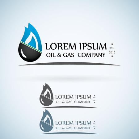 empresas: Oil Company gas vector logo de color dise�o de la plantilla fija. Gota del aceite de fuego con el concepto de icono monta�as abstractsymbol.