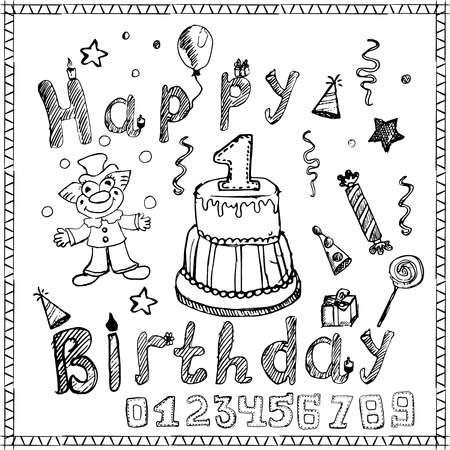 cartoon present: Birthday party elements colored hand drawn sketch with numbers isolated.
