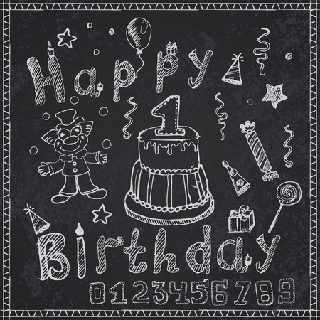 Birthday party elements colored hand drawn sketch with numbers on chalkboard. Ilustração