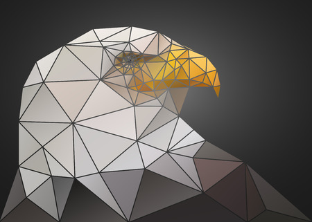 triangular eyes: Abstract polygonal triangle bald eagle. Geometric low poly illustration. Polygonal poster. Illustration