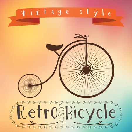 Retro bicycle on hipster background