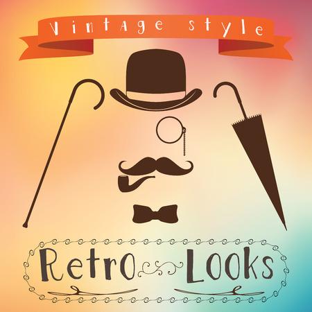 Retro gentleman elements set - bowler, moustache, tobacco pipe monocle, cane and umbrella.