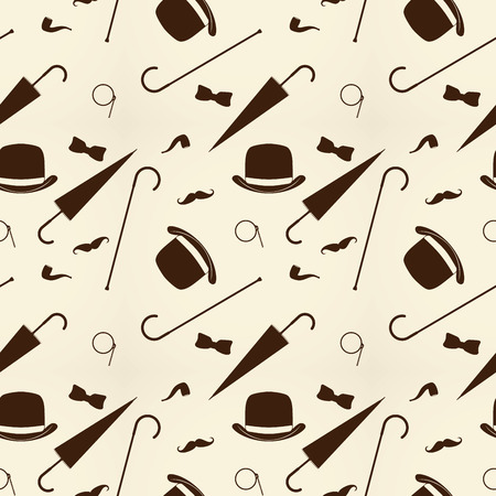 monocle: Retro gentleman elements - bowler, moustache, tobacco pipe monocle, cane and umbrella seamless pattern.