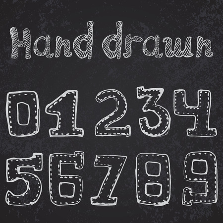 Written numbers 0-9 hand drawn sketch on chalkboard. Vector