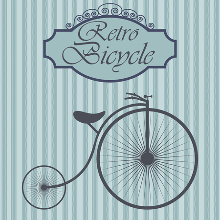 Retro bicycle on hipster background. Vintage sign design. Old fashiond theme label.