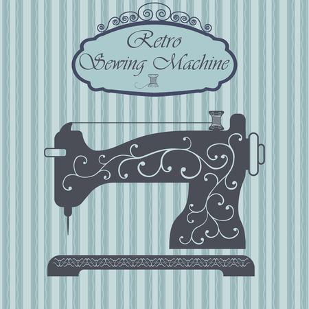 blumen verzierung: Retro N�hmaschine mit Blumenverzierung auf hipster Hintergrund. Weinlese-Zeichenentwurf. Old fashiond Thema Label. Illustration