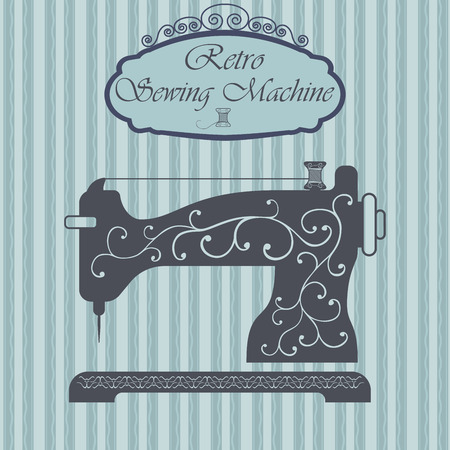 Retro sewing machine with floral ornament on hipster background. Vintage sign design. Old fashiond theme label.